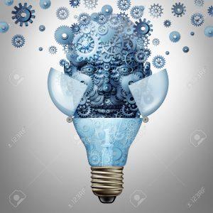 52657723 Ideas de inteligencia artificial como un s mbolo cabeza del robot de engranajes y ruedas dentadas su Foto de archivo 300x300 - Tecnología y biociencias: la era de los poshumanos