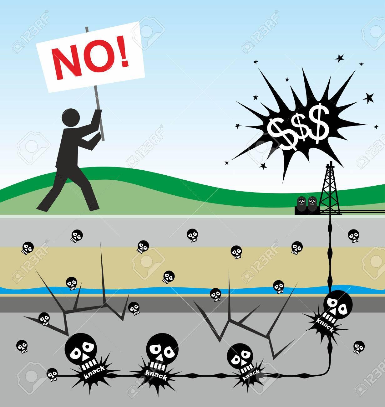 23758844 ilustración de los riesgos ambientales causados por el fracking - ¿Qué es el Fracking? ¿Cuáles son sus graves riesgos?