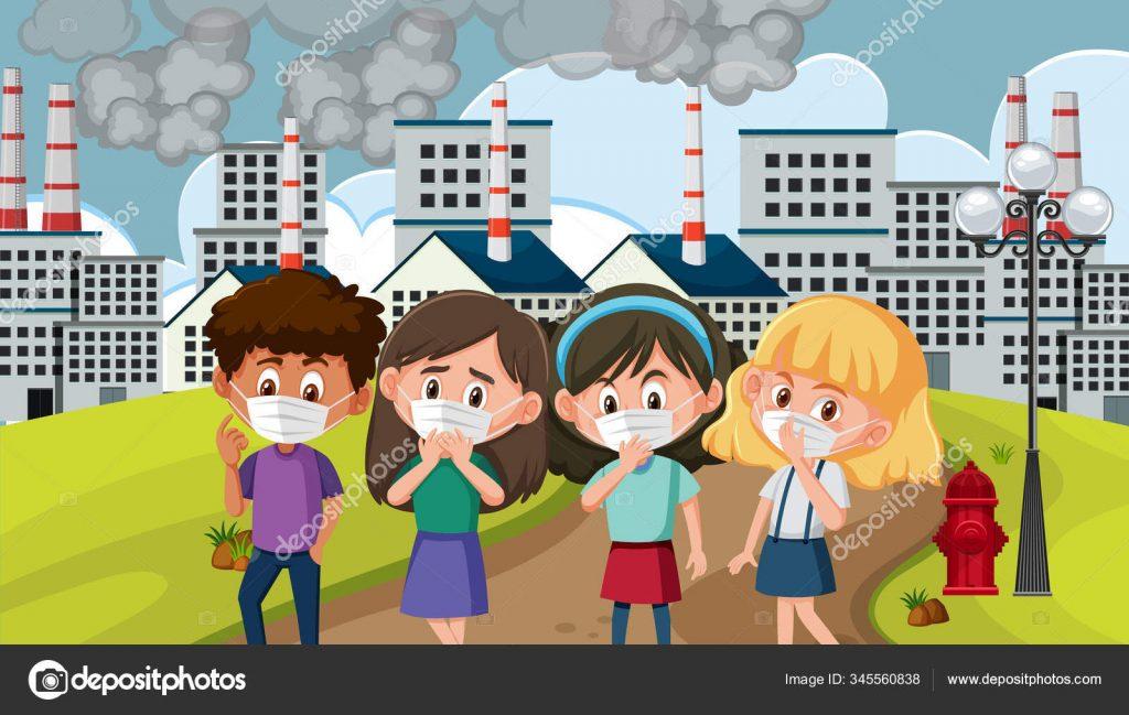 depositphotos 345560838 stock illustration scene with children wearing mask 1024x649 - 16 consejos para reducir la contaminación del aire