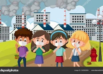depositphotos 345560838 stock illustration scene with children wearing mask 360x260 - 16 consejos para reducir la contaminación del aire