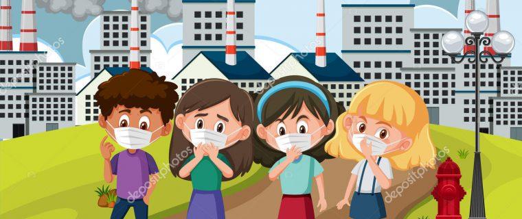 depositphotos 345560838 stock illustration scene with children wearing mask 760x320 - 16 consejos para reducir la contaminación del aire